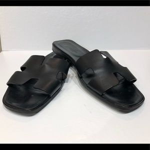 Authentic Hermes Oran sandals in black size 44